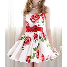 Vintage Sweetheart Neckline Floral Print Sleeveless Dress For Women--SUUUPER cute!!!! :D