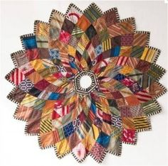 Beautiful Christmas Tree Skirt made from mens neck-ties