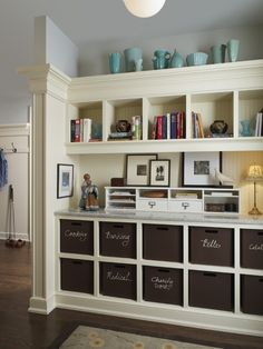 organization cabinets built onto top of counter.