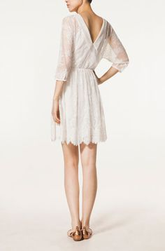CROSSOVER BACK BLOND LACE DRESS - Dresses - New Season - WOMEN - United Kingdom