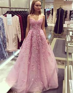 2018 Chic A line Prom Dresses Strapless Pink Long Prom Dress Evening Dresses