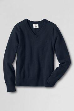 School Uniform Boys' Performance Fine Gauge V-neck Sweater from Lands' End