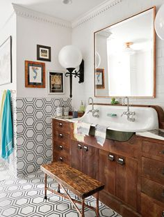 Building a bathroom vanity allows you to customize the unit to your unique storage needs and style preferences. Refinish a flea market find, update an existing stock cabinet, or upgrade a retail table for a personalized DIY bathroom vanity you'll love. #bathroomideas #bathroomdecor #bathroomvanityideas #bathroomremodel #bhg