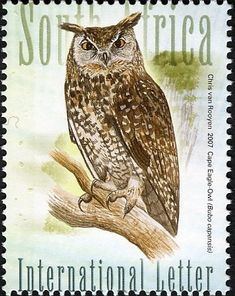 Stamps showing Cape Eagle-Owl Bubo capensis, with distribution map showing range South African Birds, South Afrika, Postage Stamp Collection, World Birds, Owl Photos, Beautiful Owl, Vintage Stamps, Animal Totems, Cute Owl