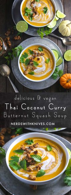 Thai Coconut Curry Butternut Squash Soup (leave out sugar for whole add ginger, shallots, yellow curry powder and can even add white fish pieces Healthy Recipes, Asian Recipes, Soup Recipes, Vegetarian Recipes, Cooking Recipes, Whole 30 Vegetarian, Recipies, Thai Cooking, Milk Recipes