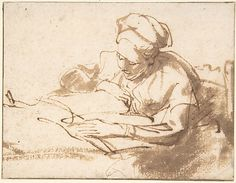 Woman Reading Rembrandt (Rembrandt van Rijn) (Dutch, Leiden 1606–1669 Amsterdam) Date: 1606–69 Medium: Pen and brown ink, brush and brown wash, with framing line in pen and brown ink