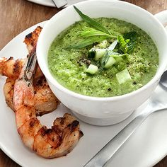 White Gazpacho with Grilled Shrimp. The perfect summer supper!