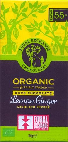 Equal Exchange Organic, lemon & ginger dark chocolate bar.  Awake your taste buds with this dark chocolate bar containing lemon, ginger and black pepper. Generously ginger biased with a warm and spicy nature finished with a peppery edge. A very interesting and unique chocolate bar recipe.  Certified organic and fairly traded.