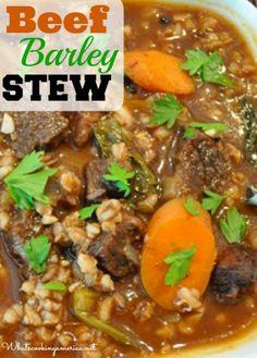 Beef Barley Stew Recipe | whatscookingamerica.net | #beef #barley #stew