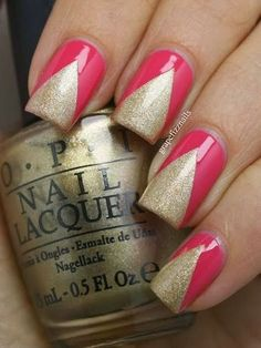 Nail Designs Pink And Gold