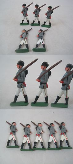 Pre-1970 734: 5 Vintage Cast Lead Figures Marching Soldier Grey Uniform Rifle On Shoulder -> BUY IT NOW ONLY: $30 on eBay!