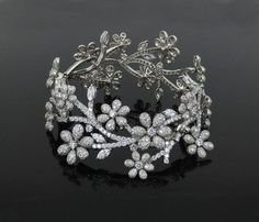 Estate Tiffany & Co Perfect Cut Diamond & Platinum Wide Floral Bracelet Diamond Bands, Diamond Cuts, Tiffany & Co., Black Gold Jewelry, Photo Charms, Pandora Bracelets, Jewelery, Jewelry Watches, Stuff To Buy
