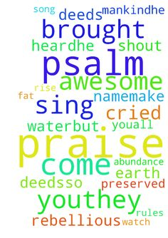 psalm 66 -  Psalm 66New International Version NIV Psalm 66 For the director of music. A song. A psalm. 1Shout for joy to God, all the earth2Sing the glory of his name;make his praise glorious.3Say to God, How awesome are your deedsSo great is your powerthat your enemies cringe before you.4All the earth bows down to you;they sing praise to you,they sing the praises of your name.a 5Come and see what God has done,his awesome deeds for mankind6He turned the sea into dry land,they passed through…