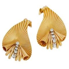 Pair of Retro Gold and Diamond Leaf Clips by Tiffany & Co