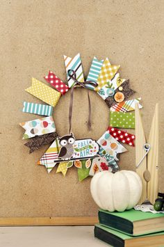 Fall Is In the Air Wreath by Jen Gallacher for #EchoParkPaper