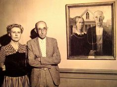 American Gothic painting, with the persons who posed for it.