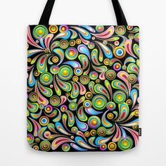 Psychedelic Color Drops Abstract Art Design Tote Bag by Bluedarkat Lem - $22.00 @Bluedarkat Lem