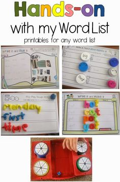 Hands-on Printables for any Word List Clever Classroom- these are such engaging word work activities! So many options! Word Work Activities, Spelling Activities, Kindergarten Literacy, Literacy Activities, Listening Activities, Literacy Centers, Educational Activities, Teaching Sight Words, Phonics Words