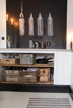 Chalkboard advent - candles Vintage House: TECKNADE LJUS