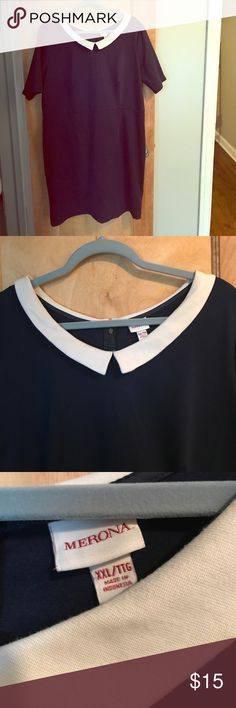 Merona Collared Navy Dress, XXL This is a re-posh. It's cute, just not my style. NAVY BLUE white collar. Zip up back. I love offers and bundles! Merona Dresses