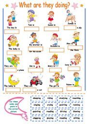 English worksheet: Present Continuous for kids (cut and paste)
