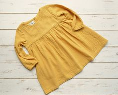 Girls Muslin Long Sleeve Dress Cotton Yellow by LillyRose2008 on Etsy