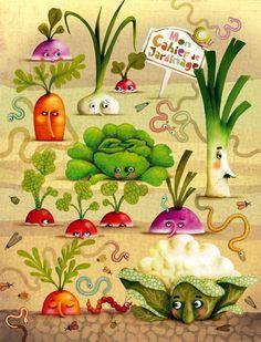 Mis Laminas para Decoupage - waff life photos and shared Vegetable Illustration, Children's Book Illustration, Food Illustrations, Art Fantaisiste, Art Mignon, Anne Geddes, Whimsical Art, Garden Art, Food Art