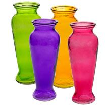 """ARE THESE WHAT YOU WERE TALKING ABOUT??? Bulk Colorful Translucent Glass Bouquet Vases, 8"""" at DollarTree.com"""