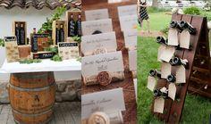 """Tableau """"Pronti a brindare"""": per gli amanti del buon vino e per chi vuole organizzare il ricevimento in una vigna! Vecchie botti e bottiglie etichettate per creare un tableau che farà """"girare la testa""""! #whiteweddingitaly #tableau #winewedding #wine"""