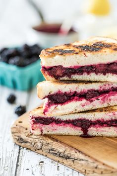 Lemon Lavender Blackberry & Ricotta Grilled Cheese Sandwiches