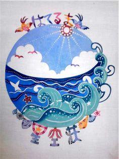 紅型雑貨 虹亀商店:2010年02月 Monte Fuji Japon, Painted Ukulele, Ishigaki, Yayoi, Ethnic Patterns, Paint Party, Okinawa, Japanese Art, Art For Kids