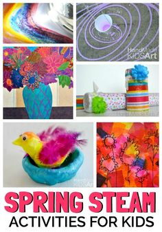 Spring STEAM hands-on activities for kids. Colorful ways to incorporate STEM for kids.