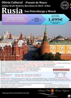RUSIA (SPB-MOW) Oferta Puente Mayo 26/4 - 8 días - Precio final sin sorpresas 1.099€ ultimo minuto - http://zocotours.com/rusia-spb-mow-oferta-puente-mayo-264-8-dias-precio-final-sin-sorpresas-1-099e-ultimo-minuto/