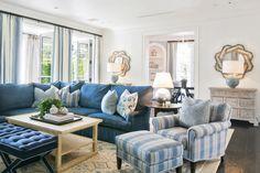 great room + blue family room + blue sofa + coastal family room