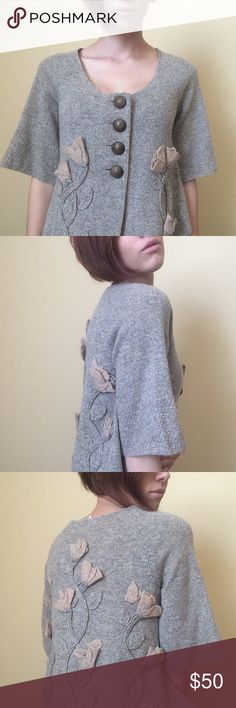 Free People cropped sleeve sweater. 88% Wool • 12% Nylon • Floral Details • Wooden Buttons • Free People • Free People Sweaters Cardigans