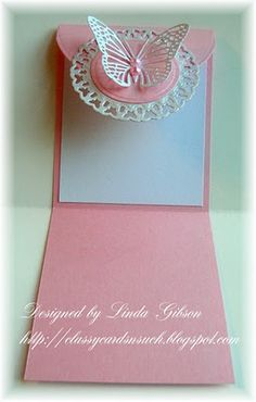 Flap Card - Spellbinders Butterflies Circles die - a small butterfly die cut from Cheery Lynn Designs - bjl Stampin Up Karten, Stampin Up Cards, Fancy Fold Cards, Folded Cards, Paper Cards, Diy Cards, Spellbinders Cards, Butterfly Cards, Pink Butterfly