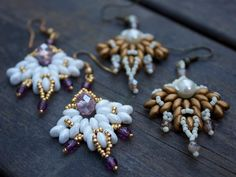 TUTORIAL - Snowflake, bead-woven earrings with Super Duos