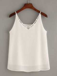 Casual Cami Plain Regular Fit Spaghetti Strap White Crisscross Chiffon Cami Top with Lining Chiffon Cami Tops, White Chiffon, Mode Bollywood, Diy Kleidung, Diy Vetement, Mode Top, Ladies Dress Design, Sewing Clothes, Blouses For Women
