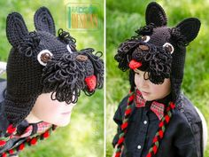 Scott and Scotia Scottish Terrier Puppy Dog Hat Crochet Pattern & Westie West Highland White Terrier Crochet Pattern Crochet Animal Hats, Knitted Hats, Loom Knitting Projects, Crochet Projects, Half Double Crochet, Single Crochet, Crochet Bebe, Knit Crochet, Scottish Terrier Puppy