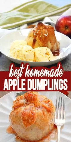 Homemade Apple Dumplings - These apple dumplings are delicious and so easy to make. The homemade dough is easy to make the recipe comes together fast the results are wonderful. Apple Recipes Easy, Fall Recipes, Sweet Recipes, Dinner Recipes, Easter Recipes, Pumpkin Recipes, Dumplings Receta, Apple Dumpling Recipe, Apple Pie Dumplings