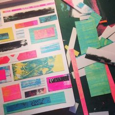 Making tiny #moleskine collages from monoprinted scraps