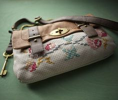 """""""Just found this awesome idea on the Fossil blog. No, the new perforated Mason bagsdon't come like this... they just happen to make the perfect canvas for cross stitch. Fossil, I have always loved you, but now you have my complete adoration."""" via we love french knots"""