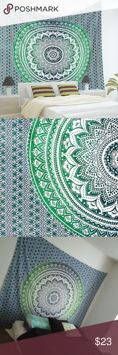 """Mandala Tapestry 90""""x90"""" 90""""x90"""" Mandala Tapestry. Would be great hanging on a wall, used as a table cloth,  laid out on the sand at the beach, or a bed cover! Also great for a gift! No holes in the tapestry, was hung using command strips. No residue left! Made of cotton. Not Urban Outfitters. Urban Outfitters Accessories"""