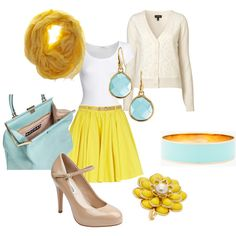 Yellow pleated skirt with Turquoise accents