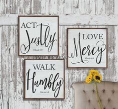 Act Justly Love Mercy Walk Humbly Rustic Farmhouse Decor Micah Vintage Faux Metal Art Scripture sign Canvas Print Living Room Wall Decor Wood Projects, Craft Projects, Projects To Try, Painted Signs, Wooden Signs, Rustic Signs, Wooden Crafts, Diy And Crafts, Scripture Signs