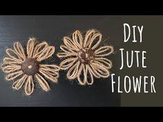How To Make Jute Flower / Flower Making With Jute Rope/ Easy Decorative Flower Making Tutorial Folded Paper Flowers, Twine Flowers, Felt Flowers, Diy Flowers, Fabric Flowers, Twine Crafts, Rope Decor, Wall Hanging Crafts, Terracotta Flower Pots