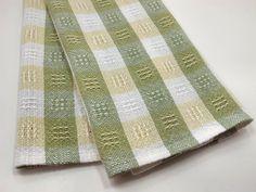 Kitchen Dish Towel Handwoven Green Yellow on Etsy, $25.00