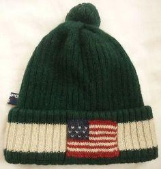 00a918a6 Vintage POLO SPORT Ralph Lauren USA FLAG Knit Hat GREEN Beanie Wool /92 93  bear