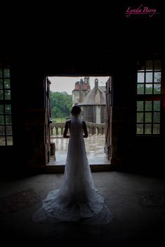 Bride in a-line silhouette ready to meet her groom at this Bucks County castle! | Lynda Berry Photography #Wedding