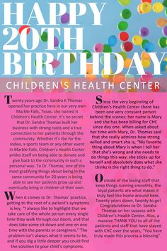 Happy Birthday Children's Health Center, P. Children's Health Center, Happy 20th Birthday, Doctor Advice, Pediatrics, Website, Reading, Blog, Reading Books, Blogging